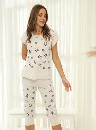 Beige - Crew neck - Pyjama Set