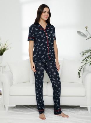 Black - V neck Collar - Pyjama Set
