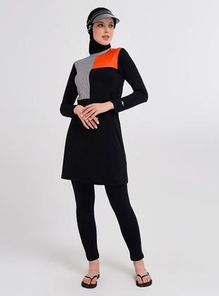 Black - Multi - Half Coverage Swimsuit - Alfasa