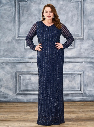 Navy Blue - Fully Lined - V neck Collar - Modest Plus Size Evening Dress