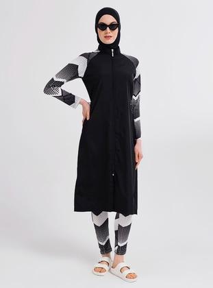 Black - Multi - Full Coverage Swimsuit Burkini - Alfasa