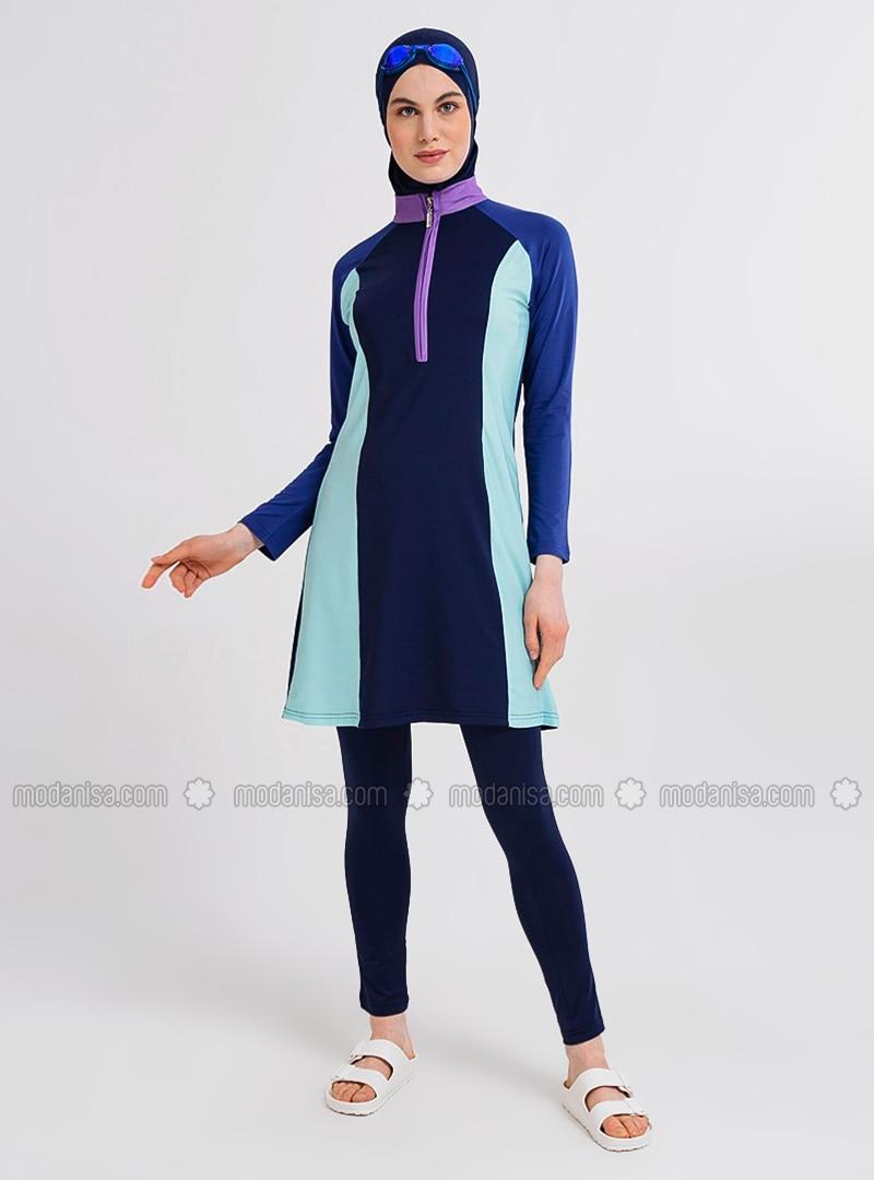 Navy Blue - Multi - Half Coverage Swimsuit