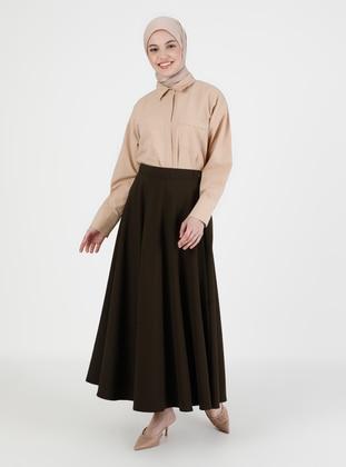 Dark Khaki - Unlined - Skirt
