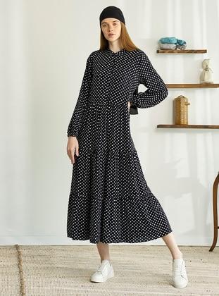 White - Black - Polka Dot - Crew neck - Modest Dress