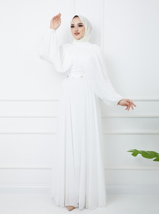 Ecru - Fully Lined - Crew neck - Modest Evening Dress
