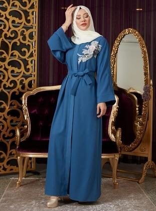 Saxe - Unlined - V neck Collar - Abaya