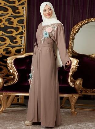 Mink - Unlined - V neck Collar - Abaya