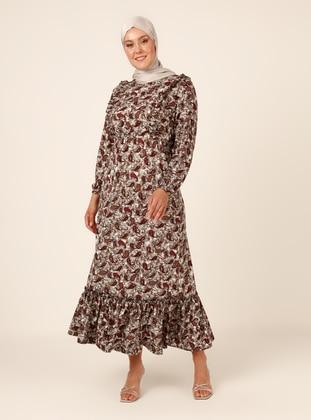 Brown - Multi - Unlined - Crew neck - Plus Size Dress