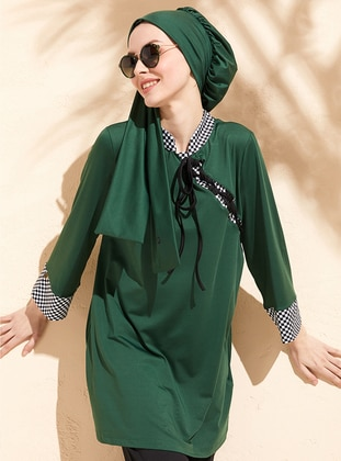 Green - Unlined - Full Coverage Swimsuit Burkini
