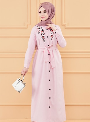 Pink - Point Collar - Unlined - Modest Dress