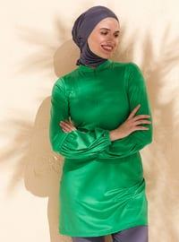 Green - Unlined - Full Coverage Swimsuit Burkini
