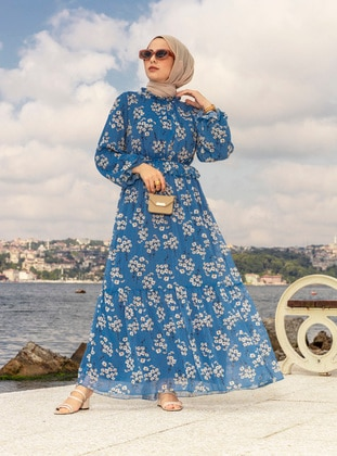 White - Blue - Floral - Crew neck - Fully Lined - Modest Dress