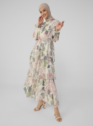 White - Pink - Floral - Crew neck - Fully Lined - Modest Dress