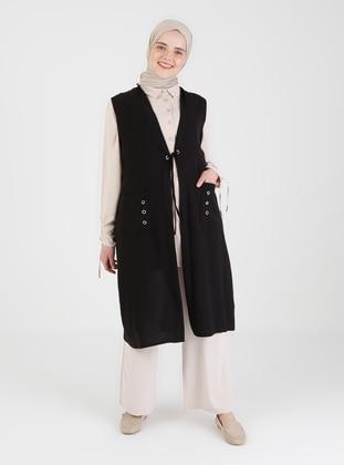 Black - Plus Size Vest - Ferace