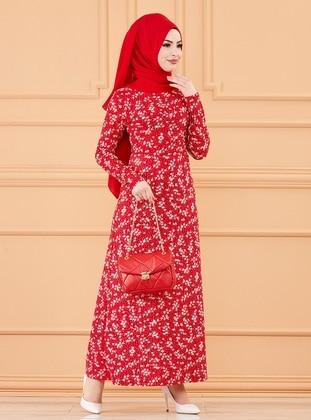 Red - Leopard - Crew neck - Unlined - Modest Dress