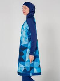 Navy Blue - Multi - Unlined - Full Coverage Swimsuit Burkini