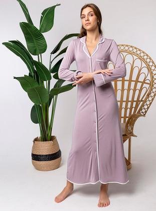 Purple - Shawl Collar - Nightdress
