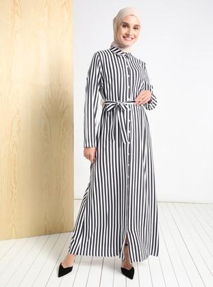 Black - Stripe - Point Collar - Unlined - Modest Dress