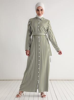 - Stripe - Point Collar - Unlined - Modest Dress