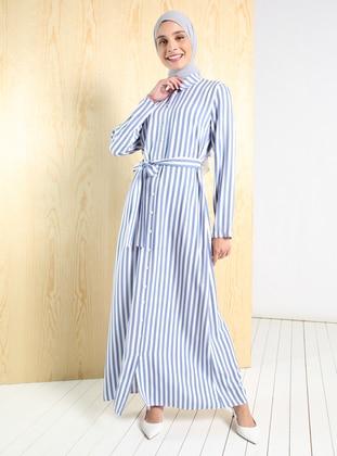 Blue - Stripe - Point Collar - Unlined - Modest Dress