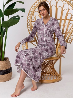 Purple - Multi - Shawl Collar - Nightdress