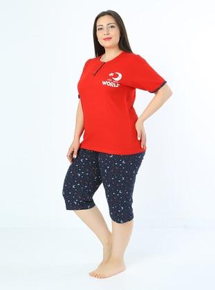 Red - Multi - Plus Size Pyjamas
