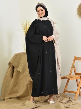 Beige - Black - Crew neck - Unlined - Modest Dress