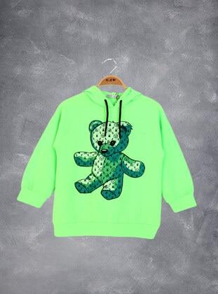 Neon Yeşili - Girls` Sweatshirt
