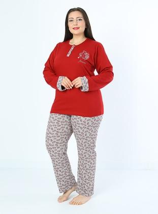 Maroon - Multi - Plus Size Pyjamas - Fawn