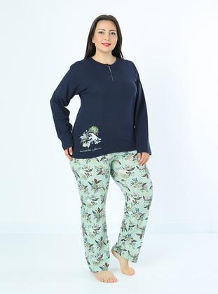 Navy Blue - Multi - Plus Size Pyjamas - Fawn