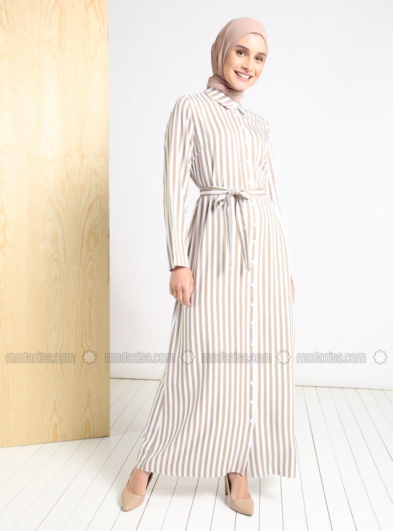 Mink - Stripe - Point Collar - Unlined - Modest Dress