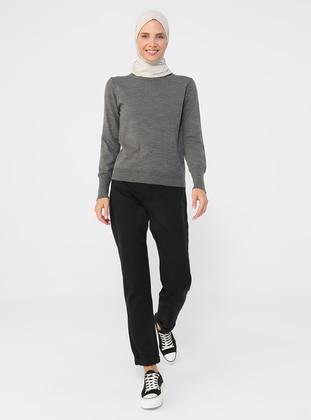 - Antrasit Melanj - Polo neck - Unlined - Knit Tunics