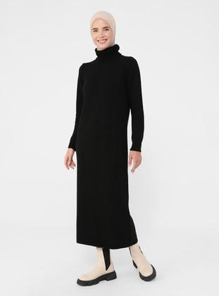 Black - Unlined - Polo neck - Knit Dresses