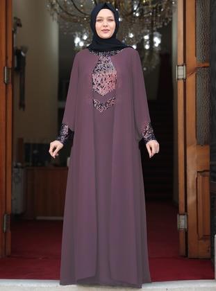 Dusty Rose - Unlined - Crew neck - Modest Plus Size Evening Dress - Amine Hüma