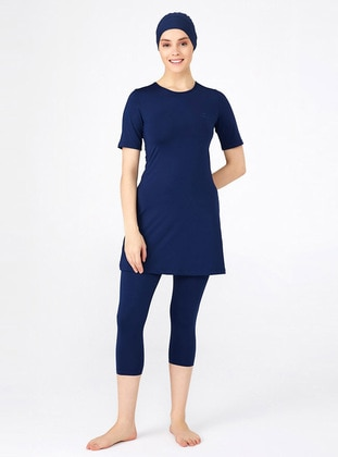 Dark Navy Blue - Unlined - Half Coverage Swimsuit