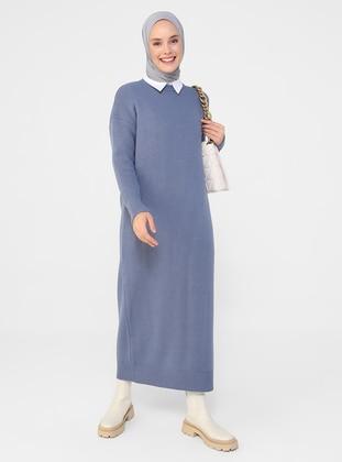 Indigo - Unlined - Crew neck - Knit Dresses