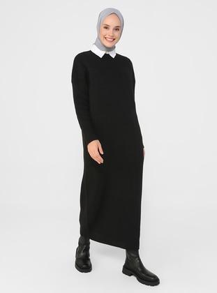 Black - Unlined - Crew neck - Knit Dresses - Refka