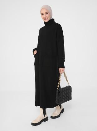 Black - Unlined - Polo neck - Knit Dresses - Refka