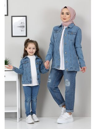 Point Collar - Fully Lined - Blue - Girls` Jacket