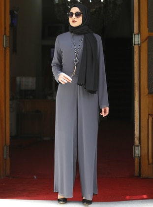 Gray - Crew neck - Fully Lined - Modest Dress - Piennar