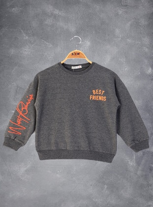 Printed - Crew neck - Unlined - Antrasit Melanj - Girls` Sweatshirt