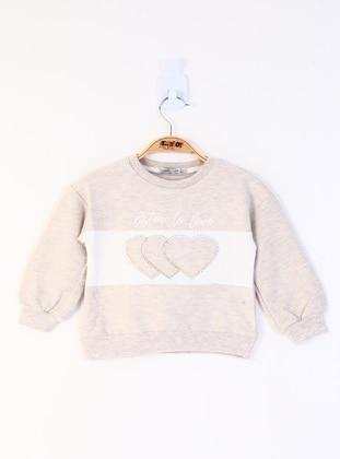Traverse - Crew neck - Unlined - Kahve Melanj - Girls` Sweatshirt
