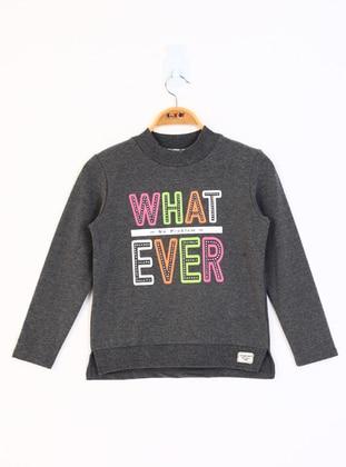 Printed - Polo neck - Unlined - Antrasit Melanj - Girls` Sweatshirts