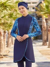 Dark Navy Blue - Multi - Full Coverage Swimsuit Burkini