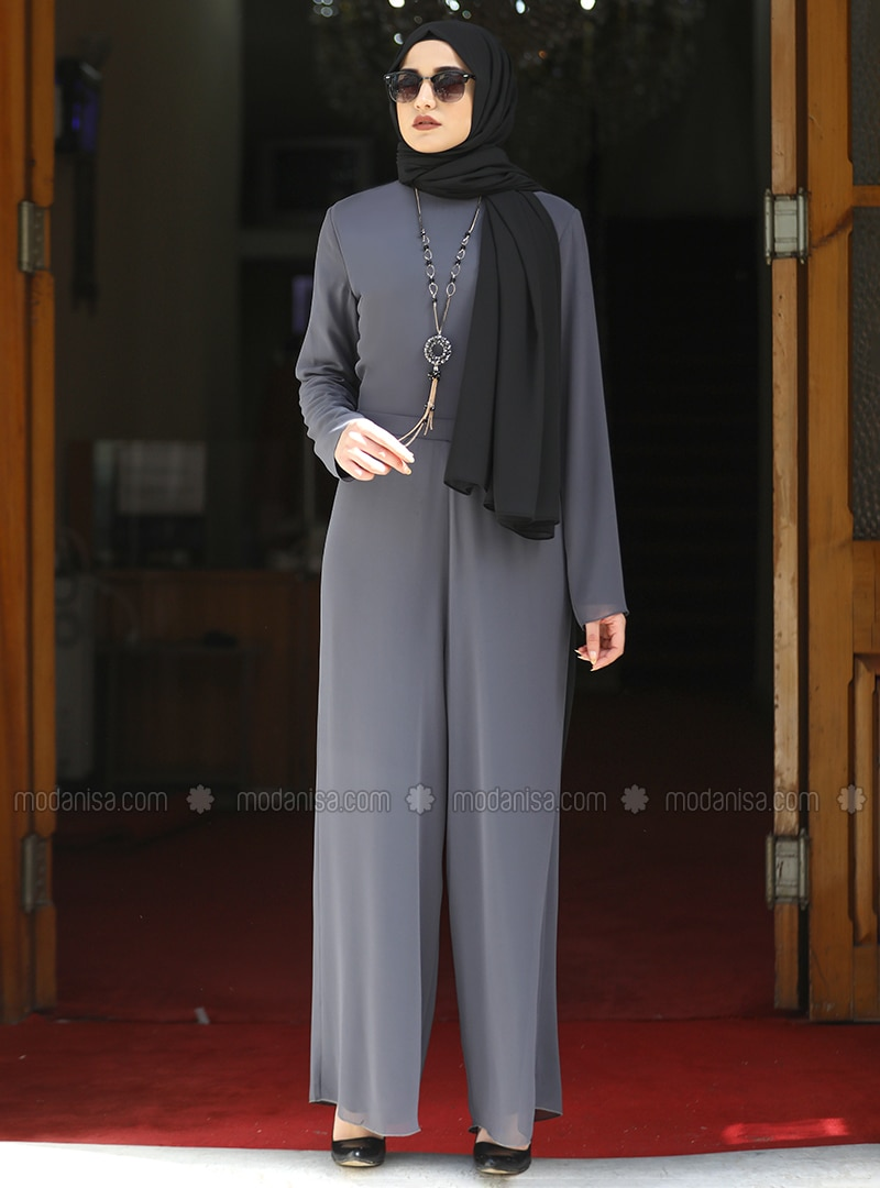 Gray - Crew neck - Fully Lined - Modest Dress