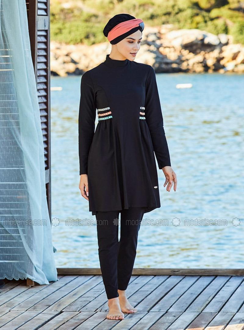 Black - Full Coverage Swimsuit Burkini