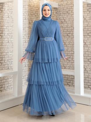 Indigo - Fully Lined - Crew neck - Modest Evening Dress