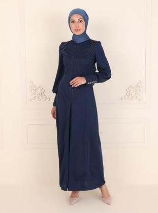 Indigo - Unlined - Crew neck - Modest Evening Dress