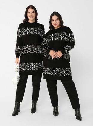 Ecru - Black - Multi - Crew neck - Plus Size Knit Tunics