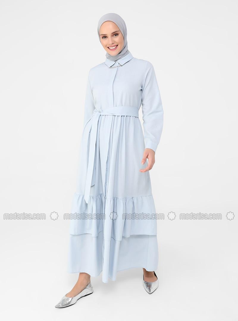 Blue - Point Collar - Unlined - Cotton - Modest Dress